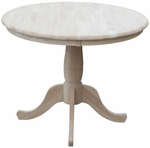 Solid Wood 36'' Diameter Round Extension Dining Table with 12'' Leaf - Unfinished [K-36RXT-FS-WHT]
