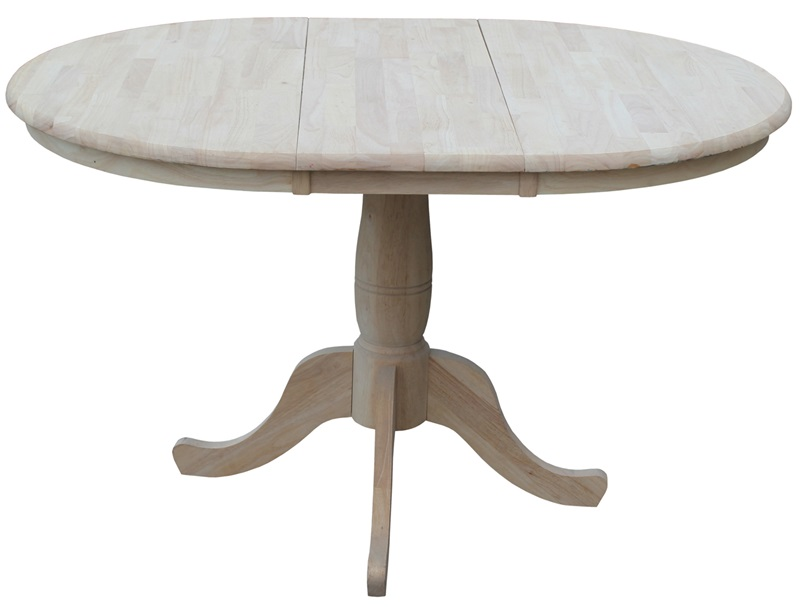 Solid Wood 36 Diameter Round Extension Dining Table with  : 36 round extension dining table with 12 leaf unfinished k 36rxt fs wht 5 from www.bizchair.com size 800 x 607 jpeg 56kB