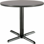36'' Round Laminate Pedestal Table with Graphite Nebula Top - Black X-Base [T36RD-B2025-GPN-IFK]
