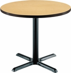 36'' Round Laminate Pedestal Table with Natural Top - Black X-Base [T36RD-B2025-NA-IFK]
