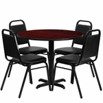 36'' Round Mahogany Laminate Table Set with Black Trapezoidal Back Banquet Chairs,Seats 4 [REST-001-BK-MAH-FS-TDR]