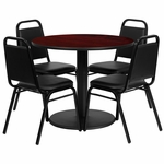 36'' Round Mahogany Laminate Table Set with Black Trapezoidal Back Banquet Chairs, Seats 4 [REST-011-BK-MAH-FS-TDR]