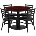 36'' Round Mahogany Laminate Table Set with Ladder Back Metal Chair and Black Vinyl Seat,Seats 4 [REST-018-BK-MAH-FS-TDR]