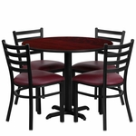 36'' Round Mahogany Laminate Table Set with Ladder Back Metal Chair and Burgundy Vinyl Seat,Seats 4 [REST-002-BG-MAH-FS-TDR]