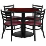 36'' Round Mahogany Laminate Table Set with Ladder Back Metal Chair and Burgundy Vinyl Seat, Seats 4 [REST-012-BG-MAH-FS-TDR]