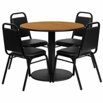 36'' Round Natural Laminate Table Set with Black Trapezoidal Back Banquet Chairs,Seats 4 [REST-011-BK-NAT-FS-TDR]