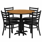 36'' Round Natural Laminate Table Set with Ladder Back Metal Chair and Black Vinyl Seat,Seats 4 [REST-008-BK-NAT-FS-TDR]