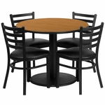 36'' Round Natural Laminate Table Set with Ladder Back Metal Chair and Black Vinyl Seat, Seats 4 [REST-018-BK-NAT-FS-TDR]