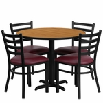 36'' Round Natural Laminate Table Set with Ladder Back Metal Chair and Burgundy Vinyl Seat,Seats 4 [REST-002-BG-NAT-FS-TDR]