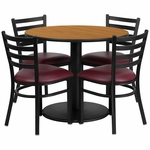 36'' Round Natural Laminate Table Set with Ladder Back Metal Chair and Burgundy Vinyl Seat,Seats 4 [REST-012-BG-NAT-FS-TDR]