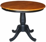 Solid Wood 36'' Diameter Pedestal Dining Table With 12'' Leaf - Black And Cherry - 30'' Standard Table Height [K57-36RXT-FS-WHT]