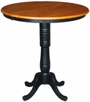 Solid Wood 36'' Diameter Bar Height Pedestal Dining Table With 12'' Leaf - Black And Cherry [K57-36RXT-6B-2-FS-WHT]