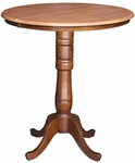 Solid Wood 36'' Diameter Bar Height Pedestal Dining Table With 12'' Leaf - Cinnamon And Espresso [K58-36RXT-6B-2-FS-WHT]