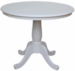 Solid Wood 36'' Diameter Dining Pedestal Table with 12'' Leaf - Linen White - 30'' Standard Table Height [K31-36RXT-FS-WHT]