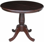 Solid Wood 36'' Diameter Pedestal Dining Table With 12'' Leaf - Mocha [K15-36RXT-FS-WHT]