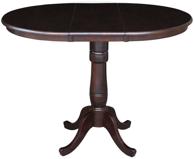 Solid Wood 36 Diameter Pedestal Dining Table with 12  : 36 round top pedestal table with 12 leaf in mocha 36 counter height k15 36rxt 6b fs wht 5 from www.bizchair.com size 800 x 656 jpeg 60kB
