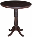 Solid Wood 36'' Diameter Pedestal Dining Table with 12'' Expansion Leaf - Mocha [K15-36RXT-6B-2-FS-WHT]