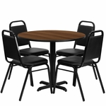 36'' Round Walnut Laminate Table Set with Black Trapezoidal Back Banquet Chairs,Seats 4 [REST-001-BK-WAL-FS-TDR]