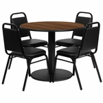 36'' Round Walnut Laminate Table Set with Black Trapezoidal Back Banquet Chairs,Seats 4 [REST-011-BK-WAL-FS-TDR]