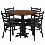 36'' Round Walnut Laminate Table Set with Ladder Back Metal Chair and Black Vinyl Seat, Seats 4 [REST-008-BK-WAL-FS-TDR]