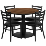 36'' Round Walnut Laminate Table Set with Ladder Back Metal Chair and Black Vinyl Seat,Seats 4 [REST-018-BK-WAL-FS-TDR]