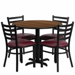 36'' Round Walnut Laminate Table Set with Ladder Back Metal Chair and Burgundy Vinyl Seat,Seats 4 [REST-002-BG-WAL-FS-TDR]