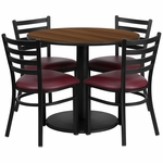 36'' Round Walnut Laminate Table Set with Ladder Back Metal Chair and Burgundy Vinyl Seat, Seats 4 [REST-012-BG-WAL-FS-TDR]