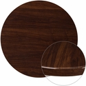 36'' Round High-Gloss Walnut Resin Table Top with 2'' Thick Edge
