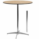 36'' Round Wood Cocktail Table with 30'' and 42'' Columns [BFDH-36PEDTBLRD-TDR]