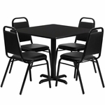 36'' Square Black Laminate Table Set with Black Trapezoidal Back Banquet Chairs,Seats 4 [REST-003-BK-BK-FS-TDR]