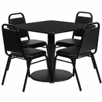 36'' Square Black Laminate Table Set with Black Trapezoidal Back Banquet Chairs, Seats 4 [REST-013-BK-BK-FS-TDR]