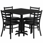 36'' Square Black Laminate Table Set with Ladder Back Metal Chair and Black Vinyl Seat,Seats 4 [REST-004-BK-BK-FS-TDR]