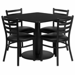 36'' Square Black Laminate Table Set with Ladder Back Metal Chair and Black Vinyl Seat, Seats 4 [REST-014-BK-BK-FS-TDR]