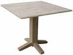 Butcher Block Top Solid Wood 38''W X 30''H Square Dual Drop Leaf Dining Table - Unfinished [T-36SDP-FS-WHT]