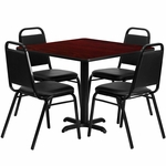 36'' Square Mahogany Laminate Table Set with Black Trapezoidal Back Banquet Chairs,Seats 4 [REST-003-BK-MAH-FS-TDR]