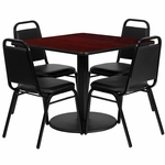 36'' Square Mahogany Laminate Table Set with Black Trapezoidal Back Banquet Chairs,Seats 4 [REST-013-BK-MAH-FS-TDR]