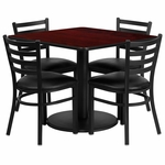 36'' Square Mahogany Laminate Table Set with Ladder Back Metal Chair and Black Vinyl Seat, Seats 4 [REST-014-BK-MAH-FS-TDR]