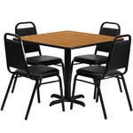 36'' Square Natural Laminate Table Set with Black Trapezoidal Back Banquet Chairs, Seats 4 [REST-003-BK-NAT-FS-TDR]