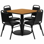 36'' Square Natural Laminate Table Set with Black Trapezoidal Back Banquet Chairs,Seats 4 [REST-013-BK-NAT-FS-TDR]