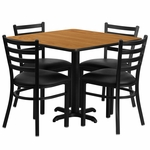 36'' Square Natural Laminate Table Set with Ladder Back Metal Chair and Black Vinyl Seat, Seats 4 [REST-004-BK-NAT-FS-TDR]