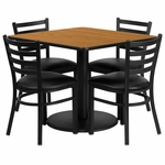 36'' Square Natural Laminate Table Set with Ladder Back Metal Chair and Black Vinyl Seat,Seats 4 [REST-014-BK-NAT-FS-TDR]