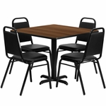 36'' Square Walnut Laminate Table Set with Black Trapezoidal Back Banquet Chairs,Seats 4 [REST-003-BK-WAL-FS-TDR]