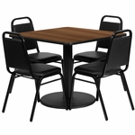 36'' Square Walnut Laminate Table Set with Black Trapezoidal Back Banquet Chairs, Seats 4 [REST-013-BK-WAL-FS-TDR]