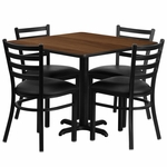 36'' Square Walnut Laminate Table Set with Ladder Back Metal Chair and Black Vinyl Seat,Seats 4 [REST-004-BK-WAL-FS-TDR]