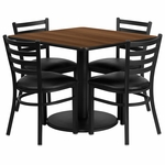 36'' Square Walnut Laminate Table Set with Ladder Back Metal Chair and Black Vinyl Seat,Seats 4 [REST-014-BK-WAL-FS-TDR]