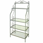 Wrought Iron 36''W x 78''H Baker's Rack with 4 Tempered Glass Shelves [GMC-T36GA-Z-FS-GCM]