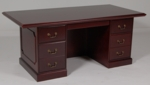 36 x 72 Wood Veneer Double Ped Desk in Mahogany Finish [932MH-FS-FDG]