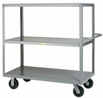 Welded Truck with Push Handle and 3 Flush Shelves - 24''W x 48''D [3M-2448-6PH-LGC]