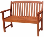 Outdoor Oil Treated Asian Hardwood Vertical Slat Back Bench with Arms - Oak Finish [BE-53937-FS-WHT]