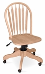 Windsor Solid Parawood Arrow Back 38''H Rolling Chair - Unfinished [KCB-1-TOP-113-FS-WHT]